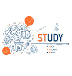 Study icons collection design vector