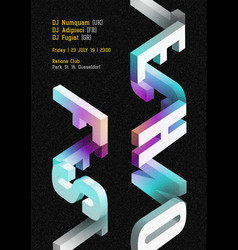 Techno music fest dark poster electronic vector