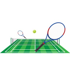 tennis court rackets and ball vector image