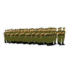 Troop soldiers formation saluting army soldiers vector