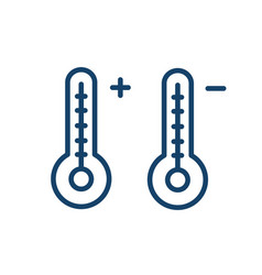two linear mercury thermometers with high and low vector image