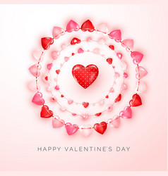 Valentines day greeting card with text and vector