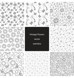 Vintage Fowers Seamless Collection vector
