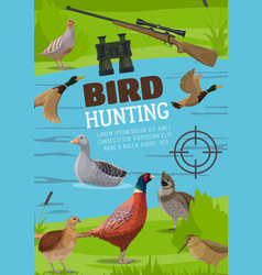 water and upland birds hunting poster vector image