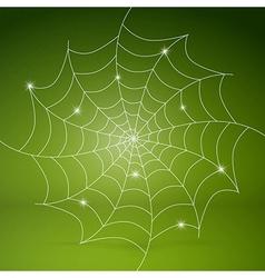 White cobweb on green background vector
