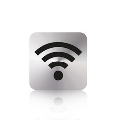 wi fi button with reflection on a white background vector image
