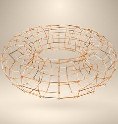 Wireframe polygonal element 3D Torus with Diamonds vector