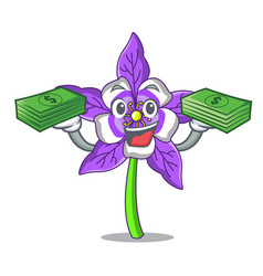 With money bag columbine flower mascot cartoon vector