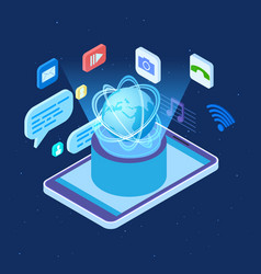worldwide social network isometric concept vector image
