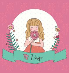 Cute horoscope zodiac girl virgo vector