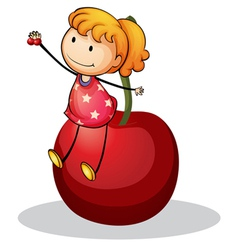 girl and cherry vector image vector image
