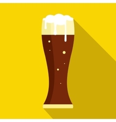 Glass of dark beer icon flat style vector image vector image