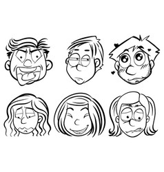 men and women with different emotions vector image