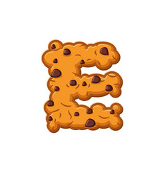 e letter cookies cookie font oatmeal biscuit vector image vector image