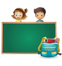 Kids and a green board vector image vector image