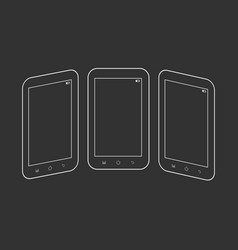 outlined smartphones on black vector image vector image