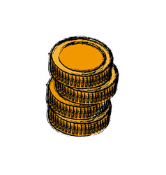 Stack coins money currency icon vector