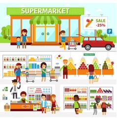 supermarket infographic elements flat vector image vector image