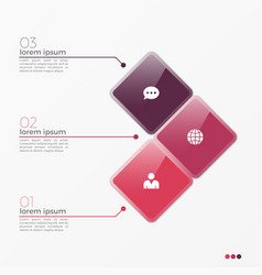 3 option infographic template with squares vector image