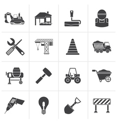 Black Building and construction icons vector image vector image