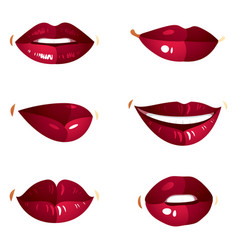 collection of red female lips with makeup vector image vector image