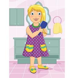 Girl Brushing Hair vector image vector image