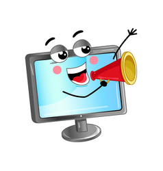 happy lcd monitor with megaphone vector image