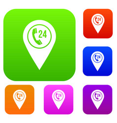 map pointer with phone handset set color vector image