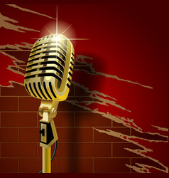 old microphone on the brick wall vector image vector image