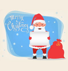 santa holding blank placard and standing near bag vector image