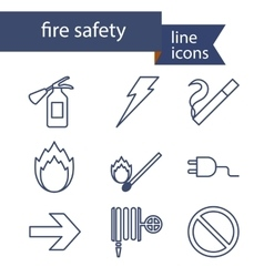 Set of line icons for fire safety vector image vector image