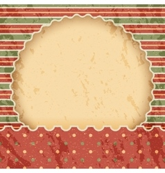 Christmas vintage paper background or frame Red vector image