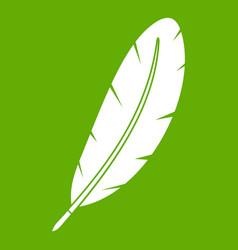 feather pen icon green vector image