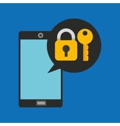 hand holds smartphone padlock key vector image