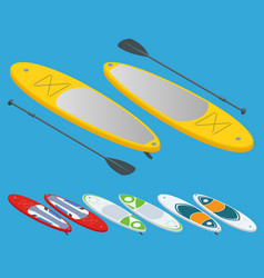 isometric set of stand up paddle surfing and stand vector image