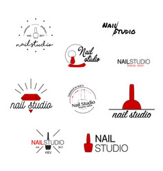 nail studio icon beauty labels greeting vector image vector image