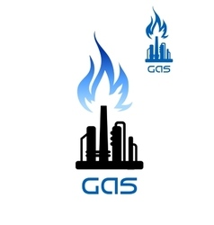 Oil refinery plant icon with flame above vector