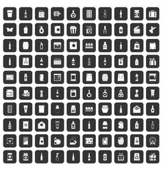 100 packaging icons set black vector
