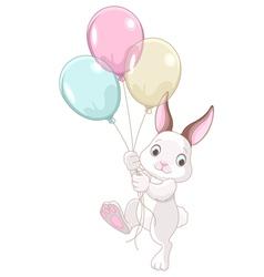 15 bunny balloons001 vector image