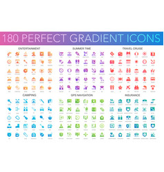180 trendy perfect gradient icons set of vector image