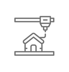 3d printing a house industrial printer line icon vector