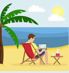 A man in a sunbed working at a laptop on a sandy vector