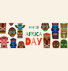 africa day and african ethnic tribal masks vector image