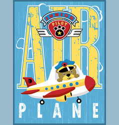 airplane and logo cartoon with little pilot vector image