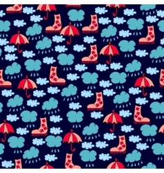 Autumn seamless pattern with clouds raindrops vector