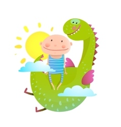 Baby and dragon cloud sun flying happy friends vector