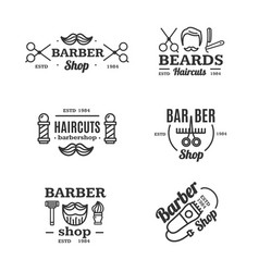 Barber shop emblems set vector