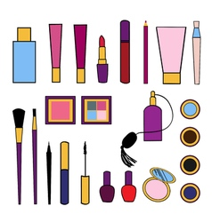 Beauty and care cosmetics colorful isolated set vector image