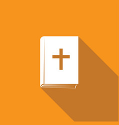 bible book icon with long shadow vector image
