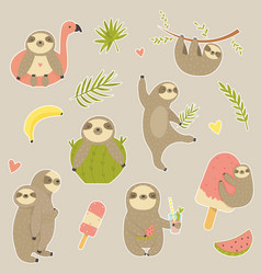 Big set of stickers with cute sloth vector